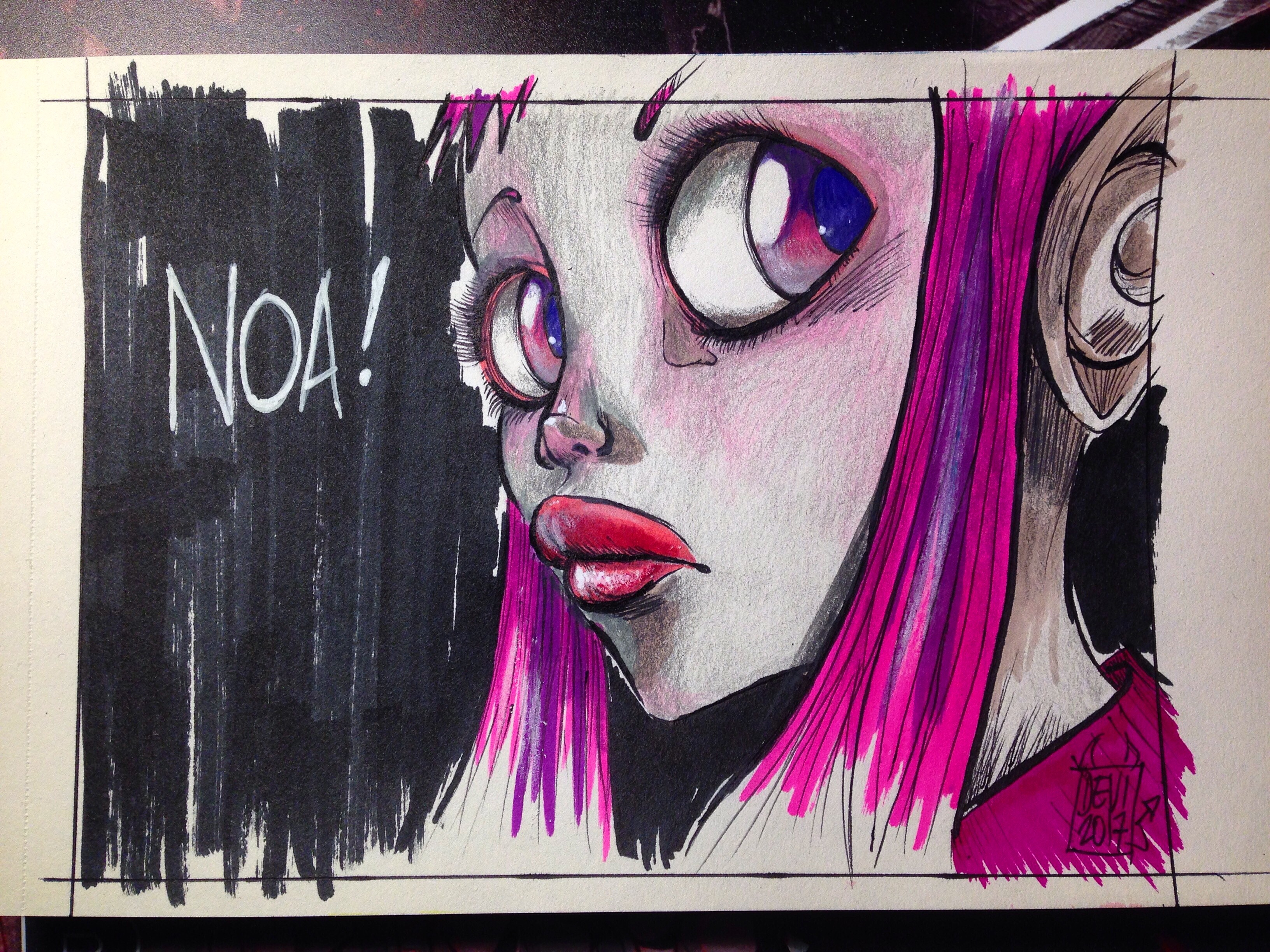 Fast sketch to try new markers (and mixed media). Reference Sky Doll (Barbucci & Canepa's comic book)