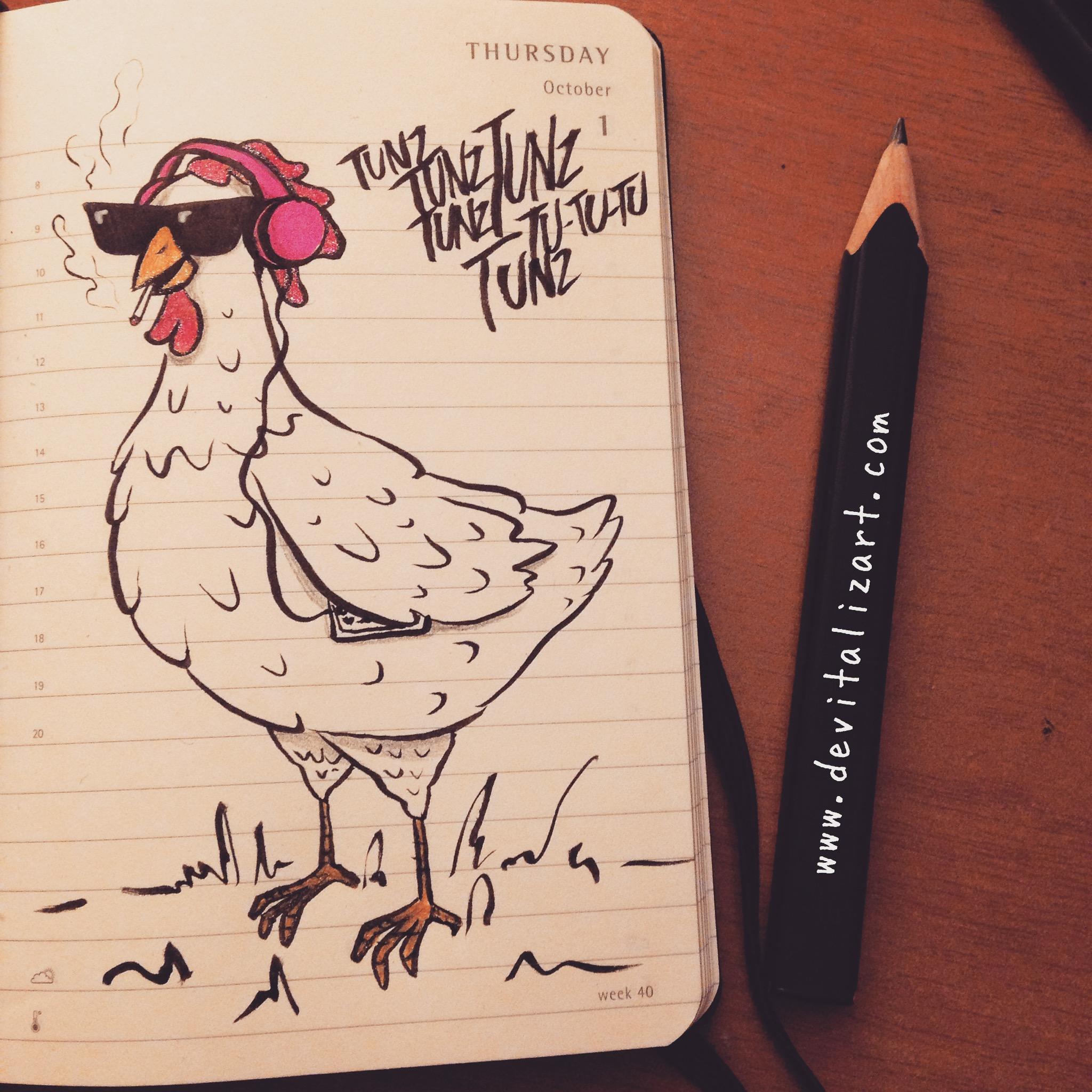 #inktober day 1   Ho sempre pensato che in fondo le galline di campagna, quelle che possono scorrazzare liberamente in giro, fanno una bella vita. Ecco, ora come ora vorrei essere una gallina. (Non che ci manchi molto.)
