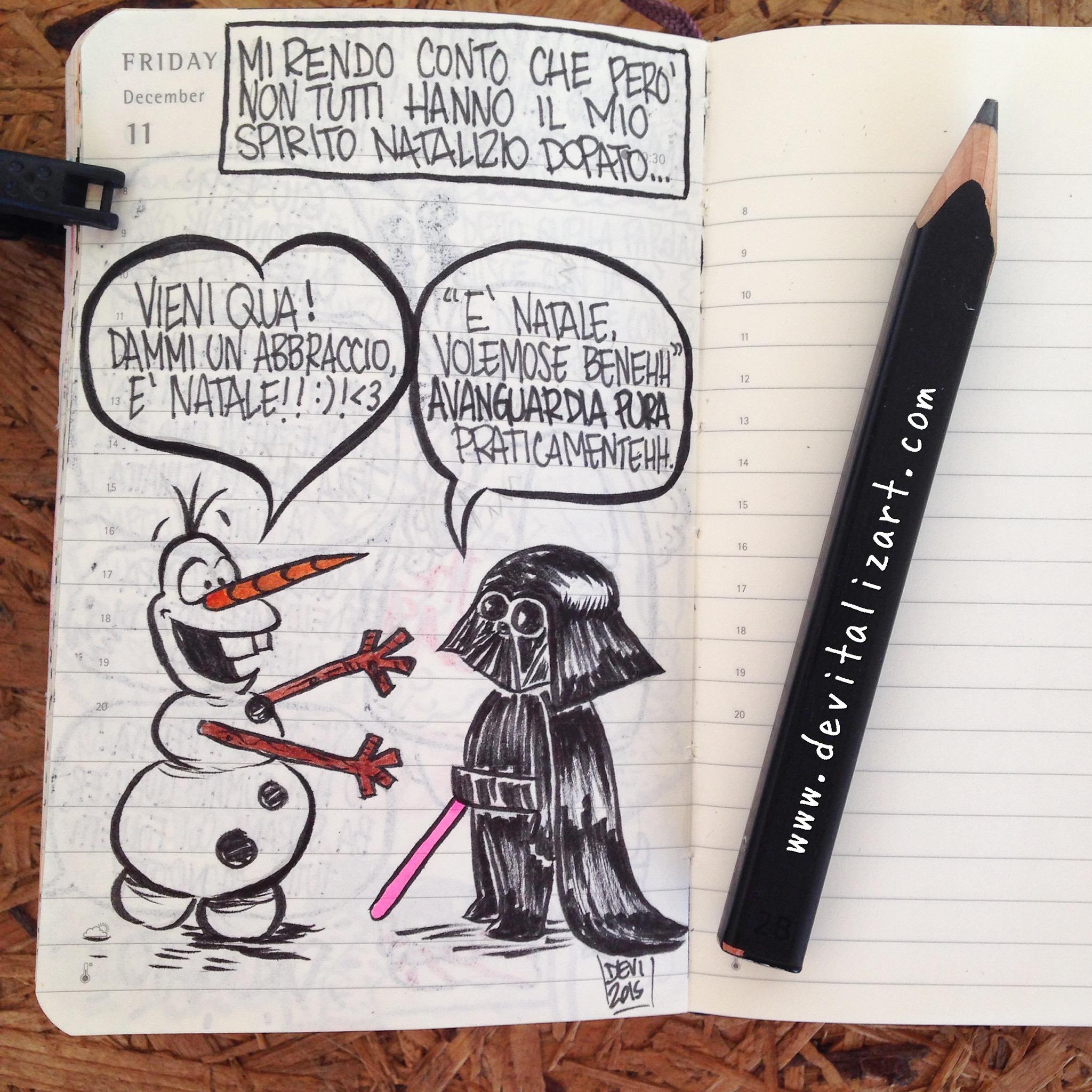 Darth Vader comincia a prendere confidenza con l'universo Disney ma non è proprio convintissimo. Olaf al contrario porterebbe pace e amore nelle Star Wars… -14
