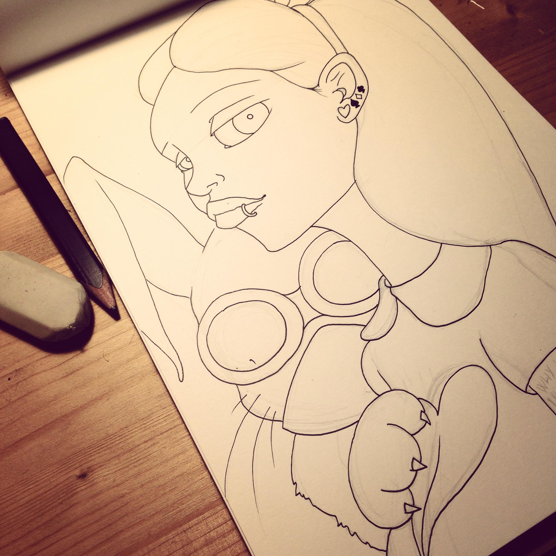 (Volevo disegnare altro ma Alice si imbuca sempre.)