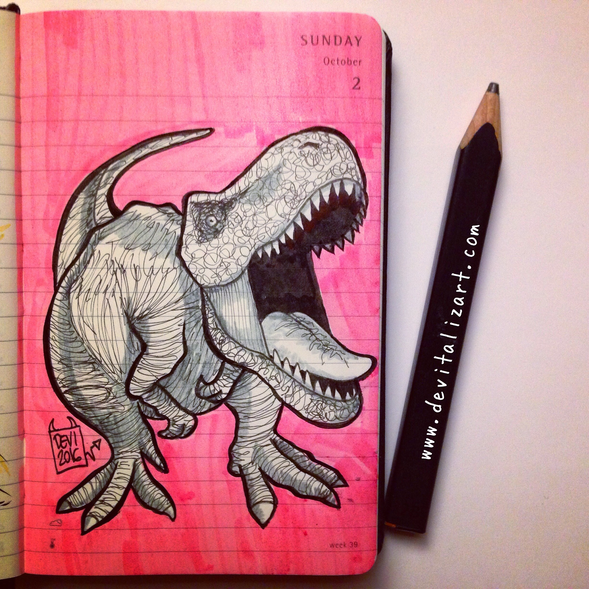 Inktober day 2: Noisy.  (E comunque i dinosauri erano tutti tirchi.)