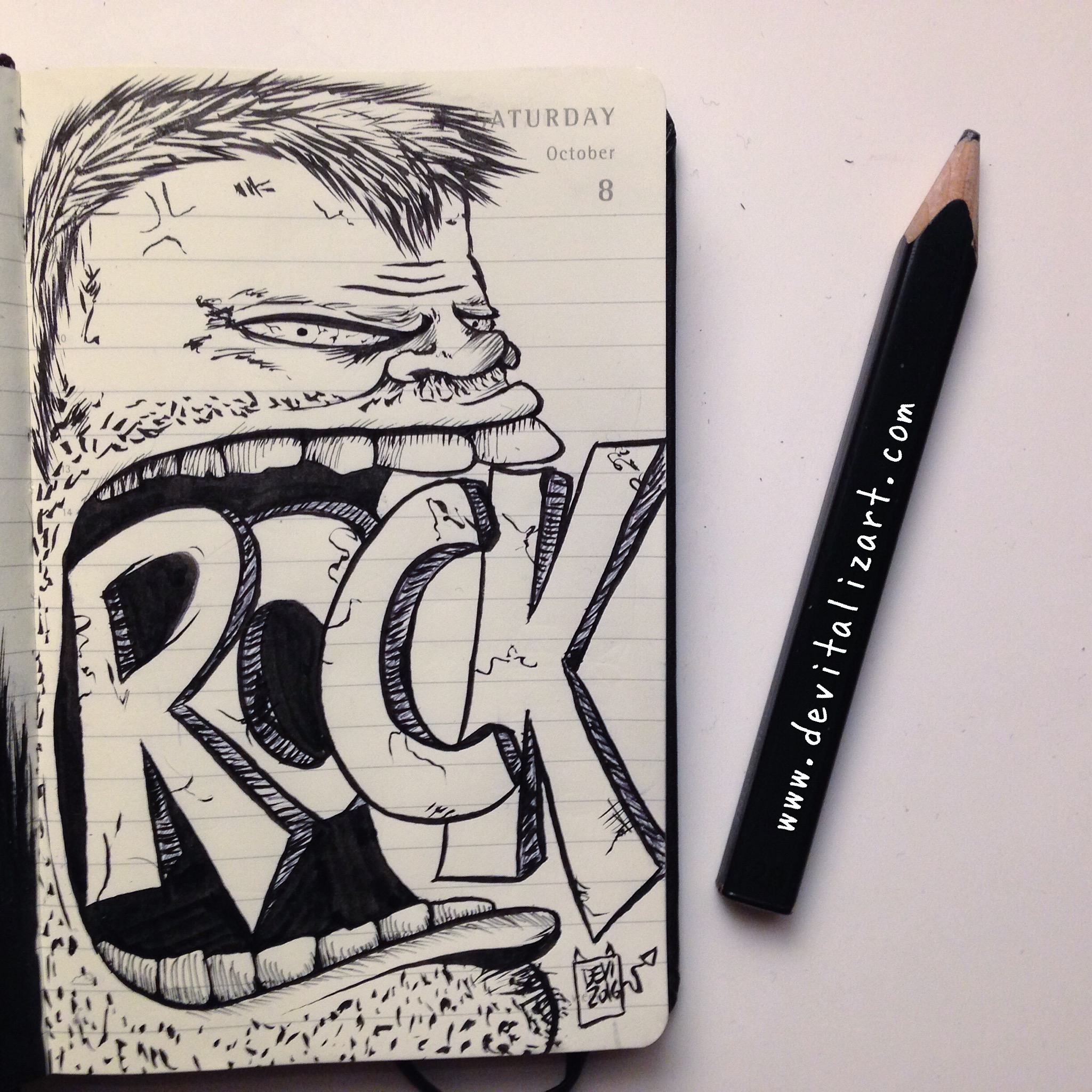 Inktober day 8: ROCK ❤️