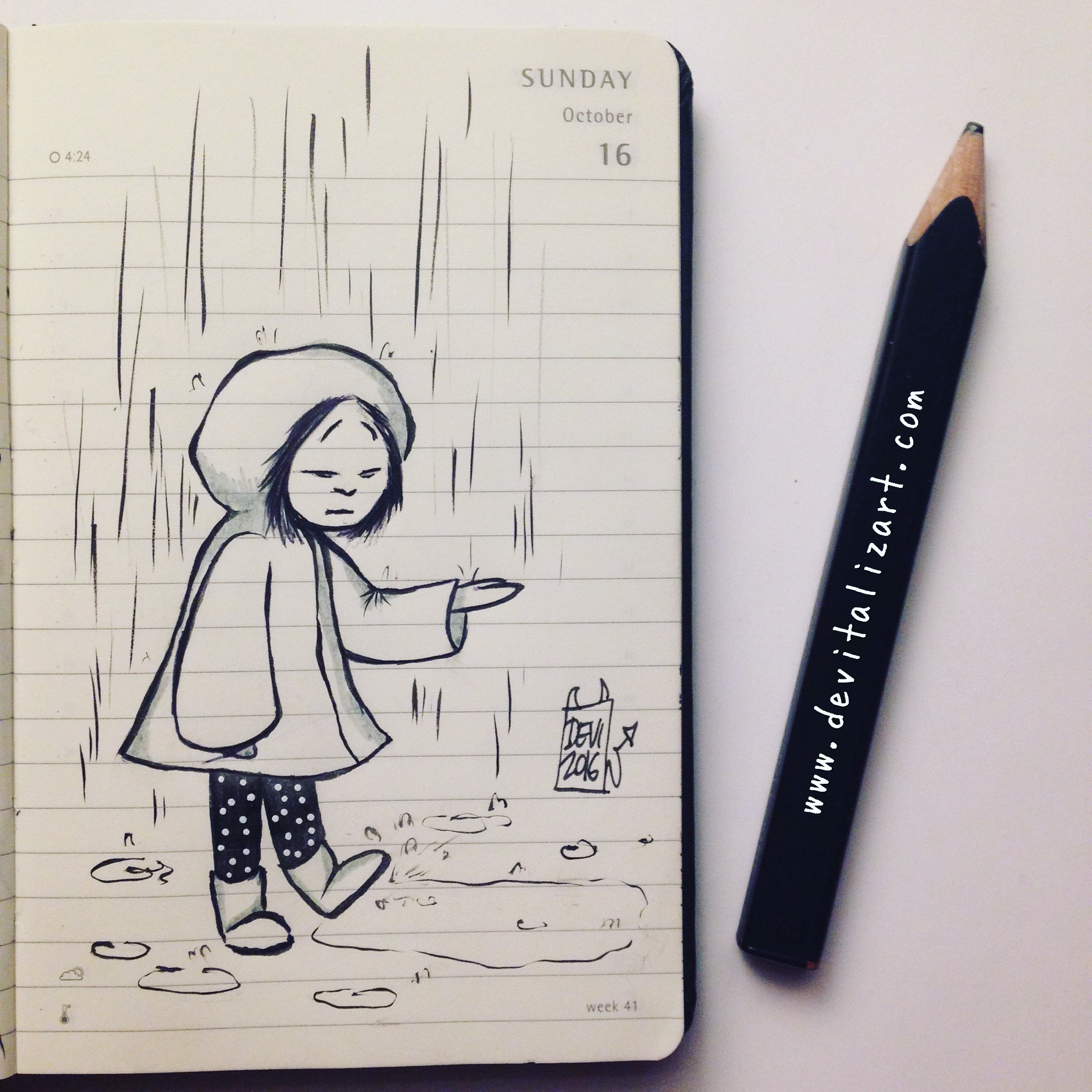 Inktober day 16: WET.