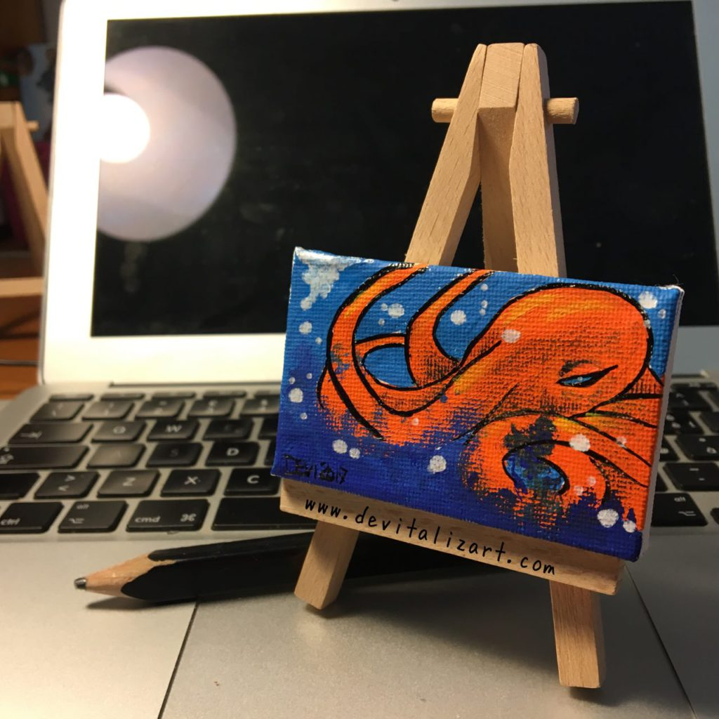 Tiny Cthulu (canvas 8x5cm)